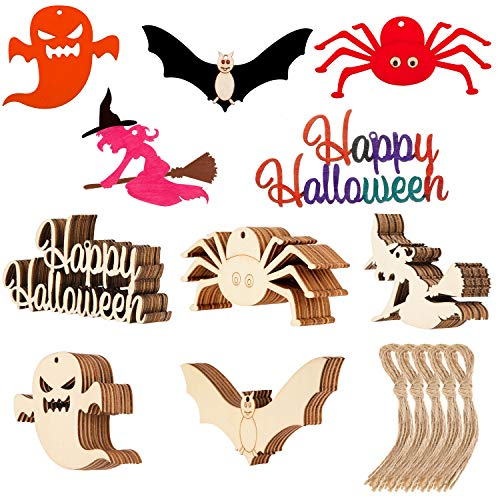 Easy Halloween Cutouts (50 Pieces Halloween Wooden Crafts Hanging Wood Ornament Halloween Wood Cutout Gift Tags with Twine Ropes for Halloween DIY Home Decor (Style Set)