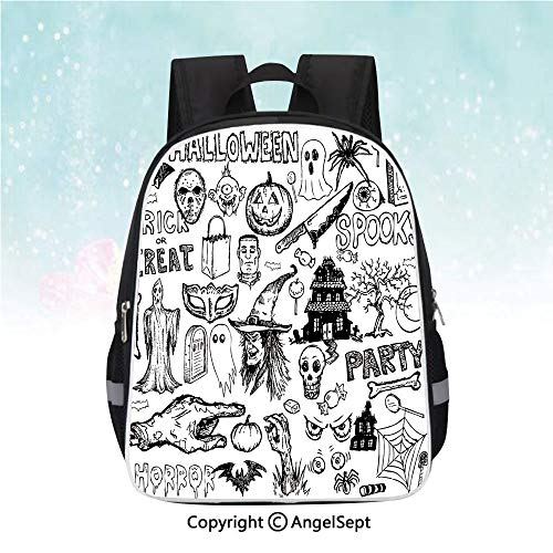 Travel Backpack,Hand Drawn Halloween Doodle Trick or Treat Knife Party Severed Hand Decorative,13