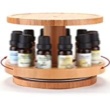 TJ.MOREE Bamboo Essential Oil Storage Holder Carousel 2 Tier with Upper Tray for 5ml, 10ml Roller Bottles