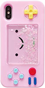 UnnFiko Squishy 3D Cartoon Game Case Compatible with iPhone 6 Plus/iPhone 6s Plus, Creative Liquid Stars Funny Play Case Soft Rubber Protective Cover for Girls Women (Pink)