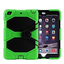 IIYBC Brand for Apple iPad Mini 4 Defender Shockproof Survivor Military Duty Hybrid Hard Case with Soft Silicone (Green)