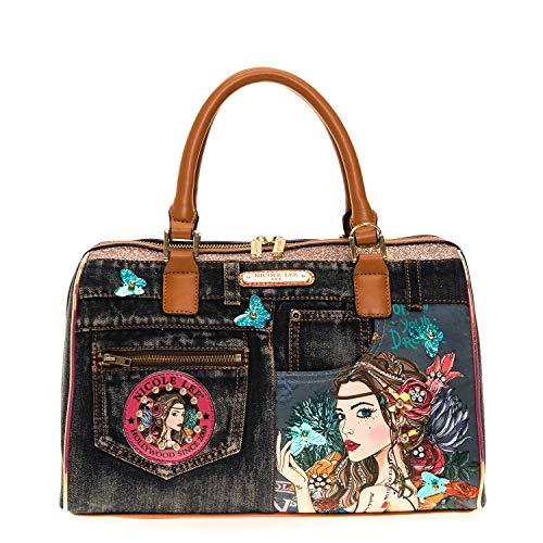 Denim Bohemian Boston Handbag With Top Handles And Removable Shoulder Strap