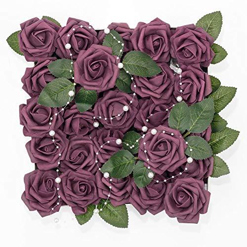 Meiliy 60pcs Artificial Flowers Plum Roses Real Looking Foam Roses Bulk w/Stem for DIY Wedding Bouquets Corsages Centerpieces Arrangements Baby Shower Cake Flower Decorations -