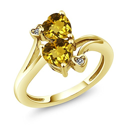 Gem Stone King 1.43 Ct Heart Shape Yellow Citrine 10K Yellow Gold Ring (Size 9)
