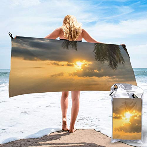 Jigaofuzhuang Quick Dry Beach Towel Sun Rays During Golden Hours Super Absorbent - Ultra Compact Camping Travel Sports Towel Blanket for Camping, Gym, Beach, Swimming, Backpacking. ()
