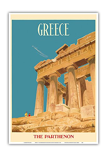 Greece   The Parthenon   Temple Of Athena   Vintage World Travel Poster By Dick Negus   Philip Sharland C 1954   Master Art Print   13In X 19In