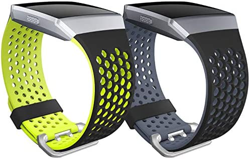 Fitbit Ionic 밴드용 SKYLET Fitbit Ionic 스마트 워치용 2 팩 소프트 실리콘 통기성 교체 손목 밴드 (트래커 없음) / Fitbit Ionic 밴드용 SKYLET Fitbit Ionic 스마트 워치용 2 팩 소프트 실리콘 통기성 교체 손목 밴드 (트래커 없음)