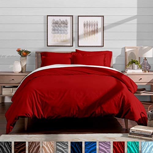 Bare Home Luxury 3 Piece Duvet Cover and Sham Set - Full/Queen - Premium 1800 Ultra-Soft Brushed Microfiber - Hypoallergenic, Easy Care, Wrinkle Resistant (Full/Queen, Red) (Red Duvet)