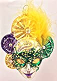 Pinnacle Peak Trading Company Purple and Green Venetian Mask with Feather Polish Glass Christmas Ornament