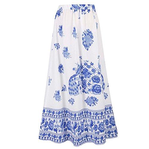 Femmes Boho Maxi Jupe Plage Floral Vacances t Taille Haute Jupe Longue Bleu Noir Rouge Bleu