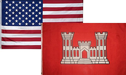 Usa Engineer - 3x5 Wholesale Combo USA American & Army Corps Engineers Flag 3'x5' 2 Pack Super Polyester Nylon Fade Resistant Double Stitched Premium Penant House Banner Grommets