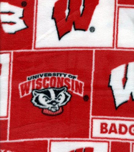 College University of Wisconsin Badgers 012 Print Fleece Fabric By the Yard