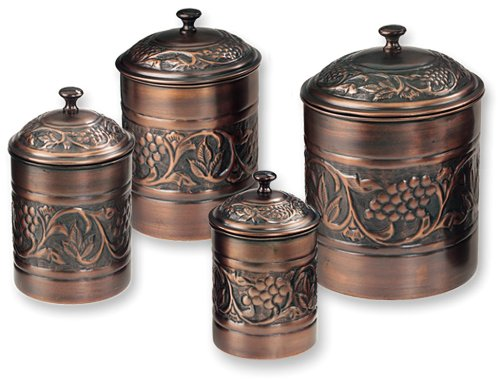 Brown Kitchen Canisters (Old Dutch Antique Embossed Heritage Canister Set - 4 Piece Set)