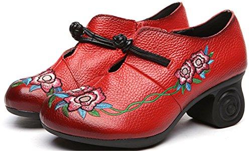 Satuki Handgemaakte Loafer Schoenen Voor Vrouwen, Chinese Knoop Lederen Casual Mid-hiel Pastorale Floral Zachte Schoenen Rood