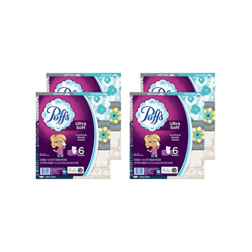 Gamble Puffs Facial Tissue - Puffs Ultra Soft Facial Tissue, 4 packs of 6 Family Boxes (Packaging May Vary)