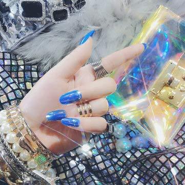 24pcs Shell Luster Nail Tips Mirror Hologram Decoration