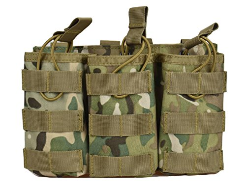 Cp Sport Air Pistols - Jadedragon Tactical Airsoft MOLLE Triple Double Single Mag Pouch Holder For M4 M16 AR-15 Magazine (Open Top Version - Triple CP)