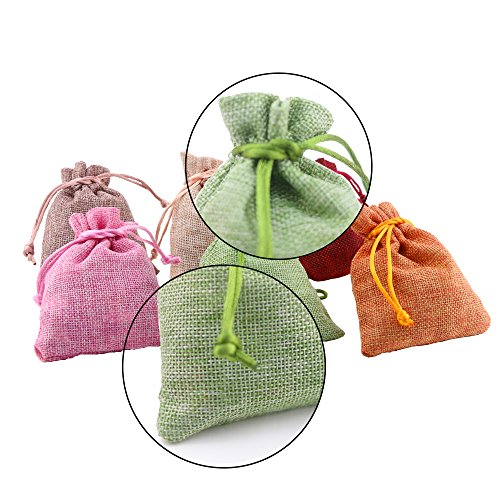 Fyess 20 PCS Christmas Party Bags Burlap Bags with Drawstring Gift Bags for Wedding Party,Arts & Crafts Projects, Presents, Snacks & Jewelry,Christmas Natural Muslin Drawstring Bags 100% Cotton Wove by Fyess (Image #1)'