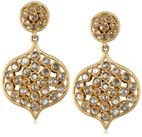 Lauren Harper Collection Milky Way 18k Gold and Rose Cut Diamond Arabesque Posts Earrings