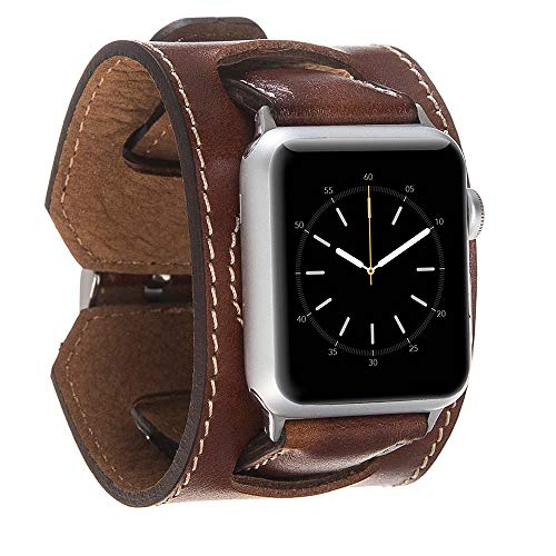 (Hardiston Leather Band Compatible with Apple Watch | Handmade Genuine Leather Replacement Cuff for iWatch Series 4 (44mm) / Series 3 Series 2 Series 1 (42mm) | Arm Band | Rustic Brown)