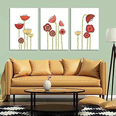 3 Panel Canvas Wall Art - Hand Drawing Style Colorful Poppy Flowers on White Background - Giclee Print Gallery Wrap Modern Home Art Ready to Hang - 16