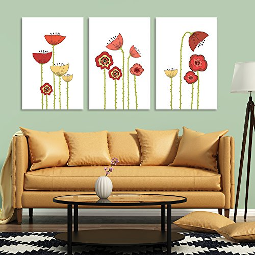 3 Panel Hand Drawing Style Colorful Poppy Flowers on White Background x 3 Panels