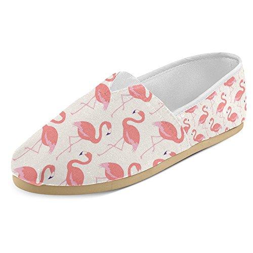 InterestPrint Frauen Loafers Klassische beiläufige Segeltuch-Beleg-auf Art- und Weise beschuht Turnschuhe-Ebenen Flamingo