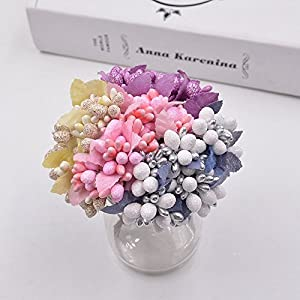 10Pcs DIY Scrapbooking Decorative Wreath Fake Flowers Bouquet Artificial Bud Stamen Berry Bacca Flower For Wedding Decoration 80