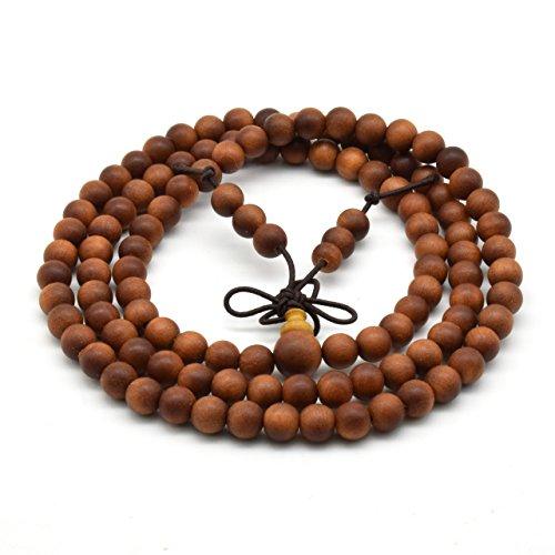 Zen Dear Unisex Teak Wood Prayer Beads Buddha Buddhist Beads Japa Mala Necklace Bracelet Beads (6mm x 108 - Women Modesto