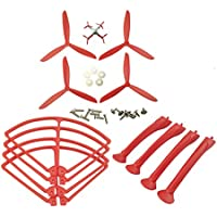 UUMART Syma X8C X8G X8W X8HC X8HW RC Quadcopter Spare Parts Upgraded Propeller+Protector+Landing Skid -Red