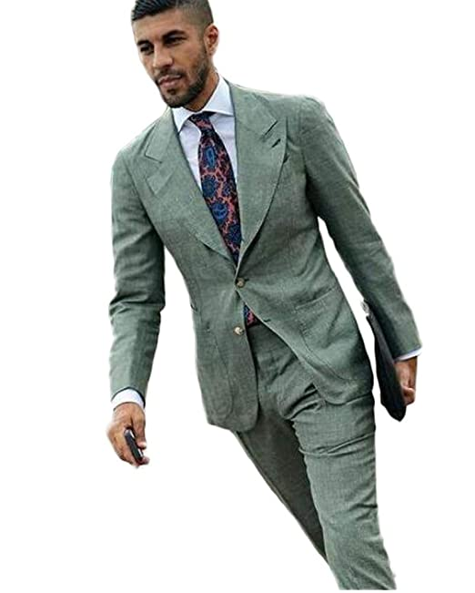 Amazon.com: Traje para hombre de color verde, ajustado, para ...