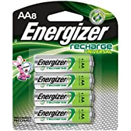 Energizer Rechargeable AA Batteries, NiMH, 2000 mAh, Pre-Charged, 8 count (Recharge Universal)