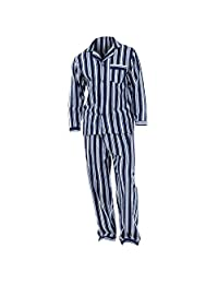 Mens Striped Flannel Long Sleeved Shirt & Trousers Pyjamas/Lounge Set