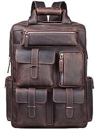 Vintage Crazy Horse Genuine Leather Backpack Multi Pockets Travel Sports Bag