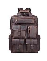 S-ZONE Vintage Crazy Horse Genuine Leather Backpack Multi Pockets Travel Sports bag (brown)
