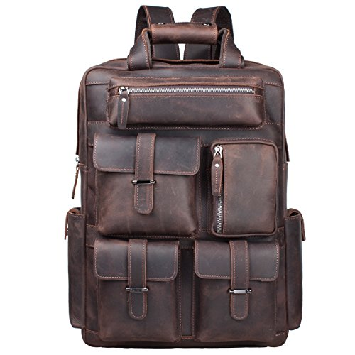 S-ZONE Vintage Crazy Horse Genuine Leather Backpack Multi Pockets Travel Sports bag (Mens Genuine Leather)