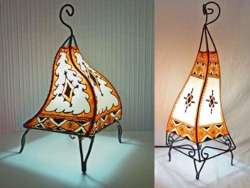 square orange-cream 38 cm Floor Lamp Painted Moroccan Henna Table