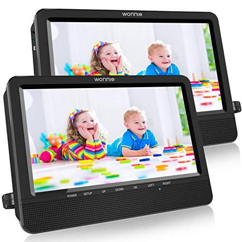 WONNIE 10.5 Portable Dual DVD Players with Two Mounting Brackets, 1024x800 HD LCD TFT, USB/SD/MMC Card Readers, Built-in 5 Hours Rechargeable Battery, Stereo Sound, Regions Free, AV Out  in