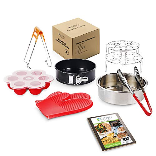 Premium Instant Pot 8 quart accessories - Steamer Basket, Springform Pan, Egg Rack, Silicone Egg Bites Mold, Trivet, Tong, Silicone Gloves and free recipe ebook for Electric Pressure Cookers