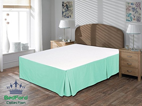BedFord Collection Egyptian Cotton 750TC 1 Piece Bed Skirt Short King Size 21'' Inch Drop Length Aqua Blue Solid