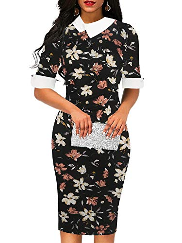 - oxiuly Women's Vintage Half Sleeve Button Color Block Formal Office Work Pencil Dress OX276 (XL, Black Floral)