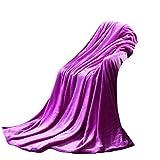 Super Soft Warm Solid Warm Micro Plush Fleece Blanket Throw Rug Sofa Bedding by XILALU (Purple)