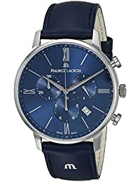 Men's 'Eliros' Quartz Stainless Steel and Leather Casual Watch, Color Blue (Model: EL1098-SS001-410-1)