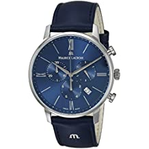 Maurice Lacroix Men's 'Eliros' Quartz Stainless Steel and Leather Casual Watch, Color Blue (Model: EL1098-SS001-410-1)