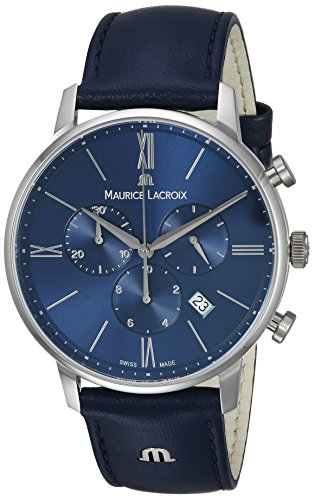 Maurice Lacroix Men's Eliros Stainless Steel Quartz Watch with Leather Calfskin Strap, Blue, 24 (Model: EL1098-SS001-410-1