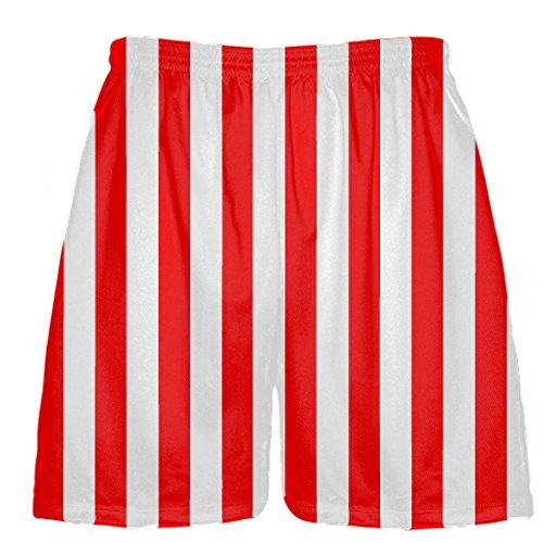 LightningWear Lacrosse Athletic Shorts Red-White Striped - Halloween Costume Small -