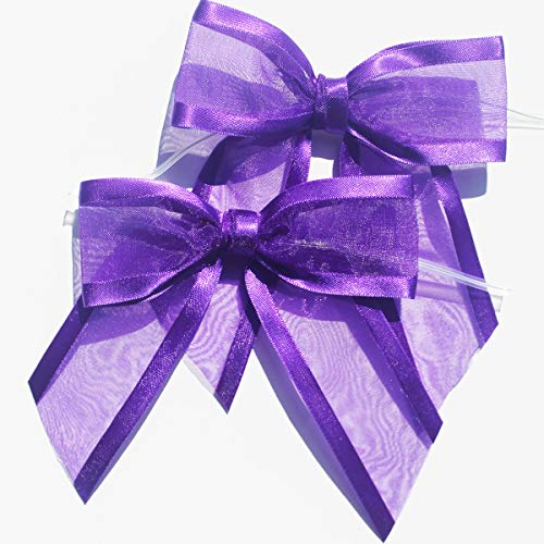 Purple PreTied Organza Bows with Twist Ties Pack of 12 SatinEdged Fabric Bows Made of 11/2quot Ribbon Bow Measures 4quot Wide 12 Purple