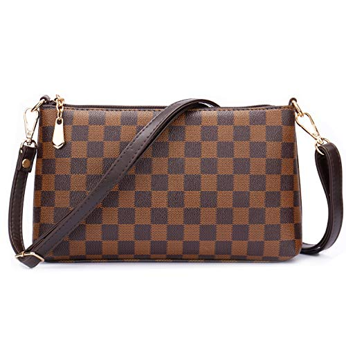 NEUX Nylon Plaid Multi-Pockets Anti Theft Small Crossbody Bags Cell Phone Purse Smartphone Wallet for Women Girls with Handy Carry, D Brown