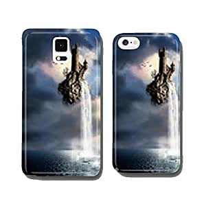 castle with waterfall falling over the sea cell phone cover case iPhone5