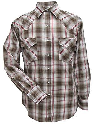Ely Cattleman Long Sleeve Mens Tan Plaid Snap Western Shirt